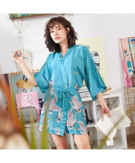 2019 New Comfy morning pj sets for women Crane printed Bridesmaid's Ice Silk Slim Sexy Sleepwear