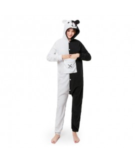 Black and white bear animal cartoon one piece pajamas long sleeve couple pajamas for autumn and winter