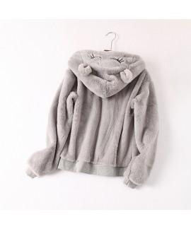 Cute cartoon hooded pyjamas sets women comfy pajam...