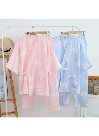 New Cotton Rabbit Women's Kimono Double Gauze Trousers Home Service Suit