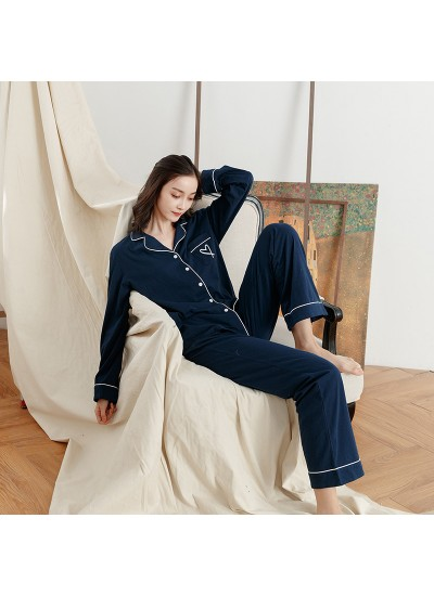 Classic Cotton Solid Color Casual Long-sleeved Trousers Home Service Pajamas Set