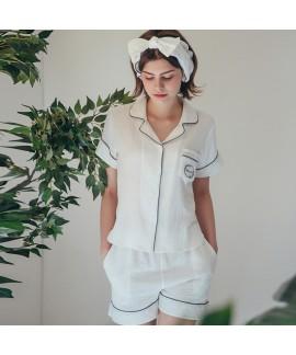 New Short-sleeved Cotton Cardigan Lapel Ladies Paj...