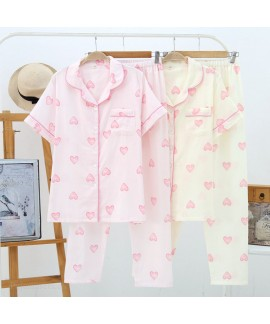 Spring And Summer Cotton Double Gauze Short-sleeved Trousers Pajamas Suit Wholesale