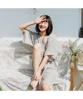 Gauze Little Daisy Short Sleeve Cotton Ladies Kimono Pajama Set Summer