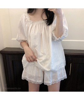 2020 Mid-sleeved Shorts Sweet Square Collar Cute Ladies Pajamas Set For Summer