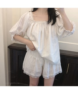 2020 Mid-sleeved Shorts Sweet Square Collar Cute L...