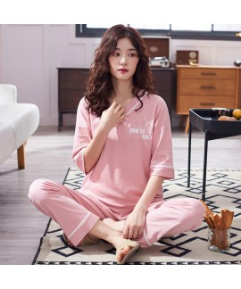 Oversized Cotton Short Sleeve Long Pants Thin Ladies Pajama Set For Summer