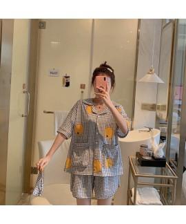 Fruit Orange Plaid Cotton Short Sleeve Shorts Ladies Pajamas Sets For Summer