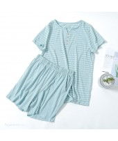 Japanese Style Cotton Short-sleeved Women's Pajama...