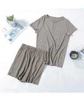 Japanese Style Cotton Short-sleeved Women's Pajamas Sset 0.05 Stretch wholesale