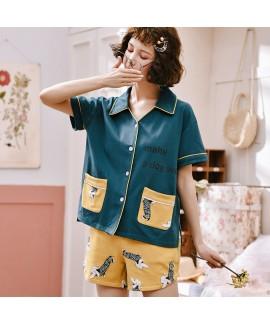 Short Sleeve Cardigan Cotton Ladies Pajama Set For Summer