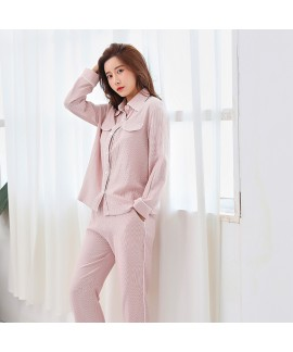 Cotton Double-layer Gauze Long-sleeved Lapel Can B...