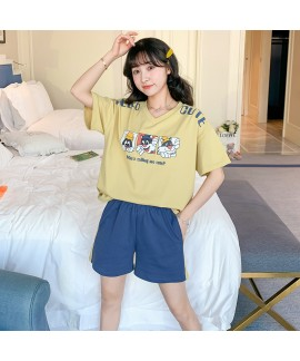 2020 New Short Sleeve Shorts Sweet Combed Cotton Ladies Pajama Set For Summer