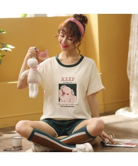 2020 Short Sleeve Shorts Sweet Combed Cotton Ladie...