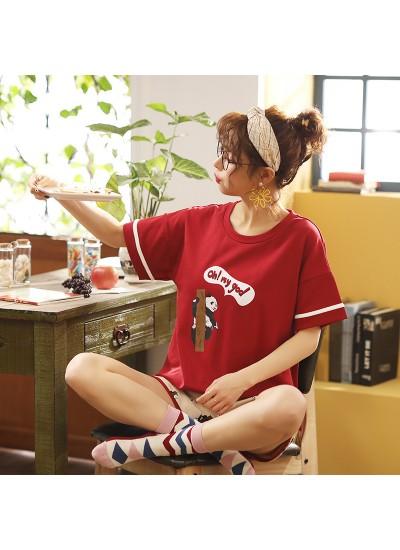 2020 New Short Sleeve Shorts Sweet Combed Cotton Ladies Pajama Set For Summer