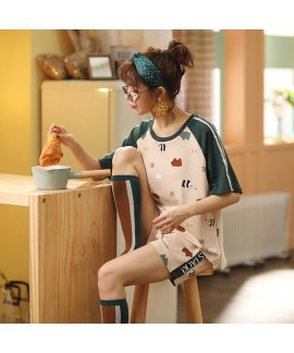 2020 New Short-sleeved Shorts Ladies Cotton Pajamas Set For Summer