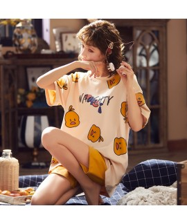 Thin Short-sleeved Cropped Pants Two-piece Suit Ladies Cotton Pajamas For Summer