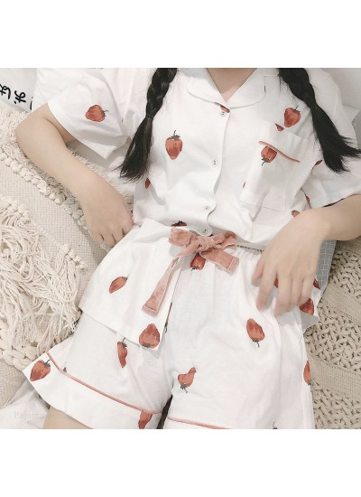 New High Quality Strawberry Short Sleeve Shorts Cardigan Cotton Pajama Set For Summer
