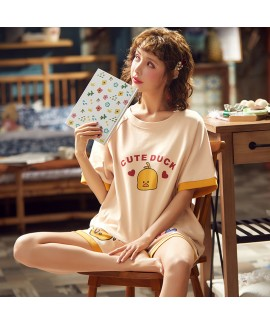 Thin Cotton Short-sleeved Cropped Pants Two-piece Ladies Pajamas Suit For Summer
