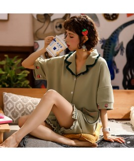 Short Sleeve Shorts Cotton Thin Cute Ladies Pajama Set For Summer
