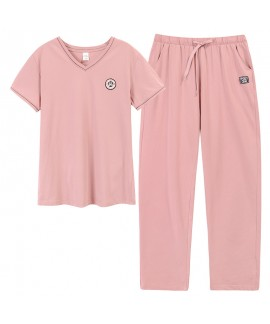 Two-piece Cotton Short-sleeved Trousers Thin Ladies Pajamas For Summer