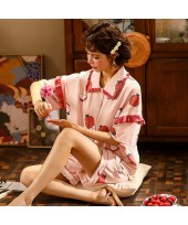 Short Sleeve Shorts Cute Ladies Cotton Pajamas Set...