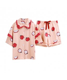 Short Sleeve Shorts Cute Ladies Cotton Pajamas Set For Summer