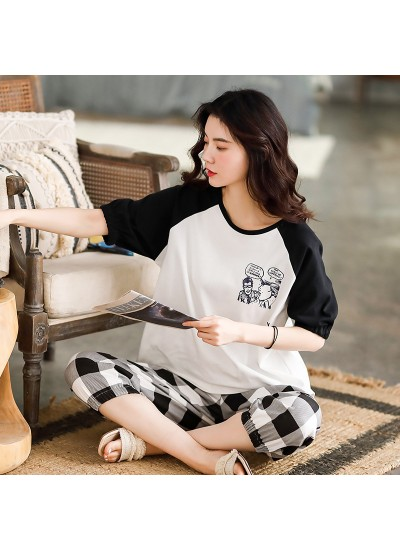 New Style Cotton Short-sleeved Cropped Trousers Cute Thin Ladies Pajamas Suit For Summer