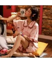 Cute Thin Short Sleeve Shorts Cotton Ladies Pajama...