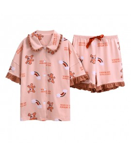 Cute Thin Short Sleeve Shorts Cotton Ladies Pajama Set For Summer