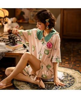 Cute Thin Cotton Short Sleeve Shorts Ladies Pajama...