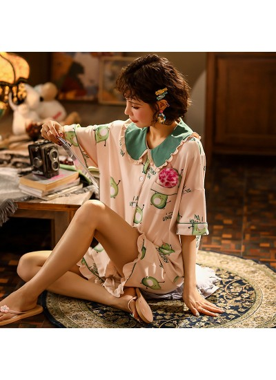 Cute Thin Cotton Short Sleeve Shorts Ladies Pajama Set For Summer