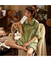 Cotton Thin Cute Short Sleeve Shorts Ladies Pajama...