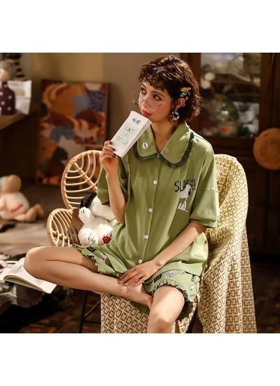 Cotton Thin Cute Short Sleeve Shorts Ladies Pajama Set For Summer
