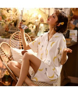 Thin Cotton Short Sleeve Shorts Two Piece Set Ladies Shirt Pajamas For Summer