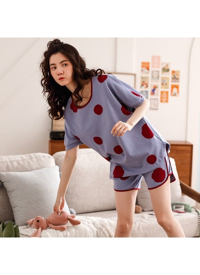 Polka Dot Short-sleeved Shorts Pure Cotton Sweet And Thin Home Service Suit