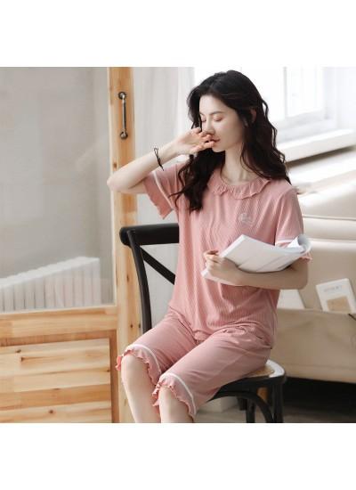 Wholesale Cute Pullover Modal Short Sleeve Pants Ladies Pajamas Set For Summer