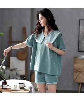 Short-sleeved Shorts Cotton Women's Pajamas Set For Summer
