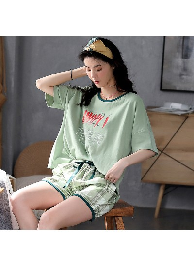 Pure Cotton Short-sleeved Shorts Cute Home Ladies Pajamas Suit For Summer