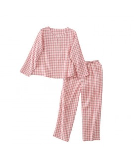 Cotton Long Sleeve Thin Hedging Plaid Loose Ladies...