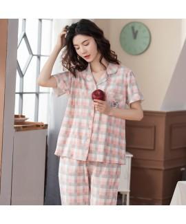 Classic Cotton Plaid Short Sleeve Pants Cardigan Ladies Pajamas Set For Summer
