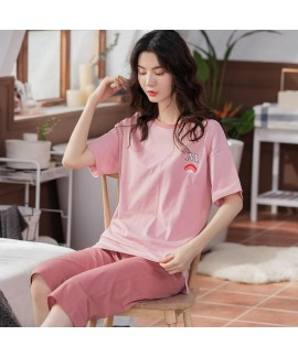 Oversize Loose Cotton Short-sleeved Casual Hedging Solid Color Ladies Pajamas Suit For Summer