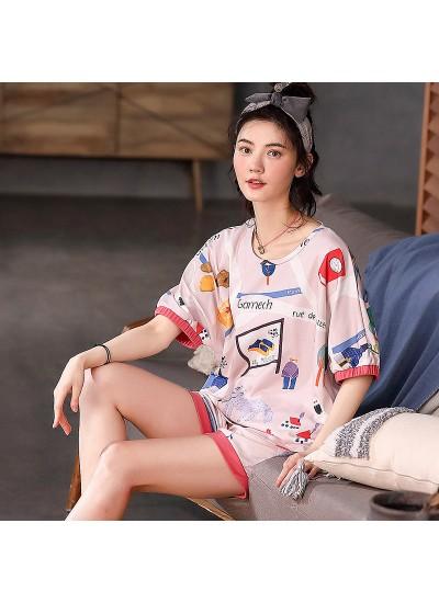 Plus Size Cotton Short Sleeve Shorts Ladies Homewear Set For Summer
