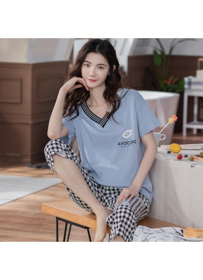 Oversize Loose Cotton Short-sleeved Casual Five-point Pants Ladies Pajamas Suit For Summer