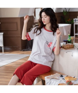 New Oversize Loose Cotton Fashion Short Sleeve Five-point Pants Ladies Home Service Suit For Summer