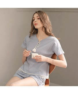 New Pure Cotton Plus Size Loose Casual Pullover Sweet Ladies Sleepwear Suit For Summer