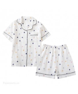 New Pure Cotton Gauze Short Sleeve Shorts Casual Ladie's Pajama Set For Summer