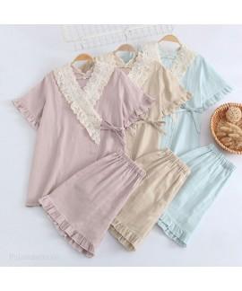 Cotton Kimono Pure Color Double Layer Gauze Short-...