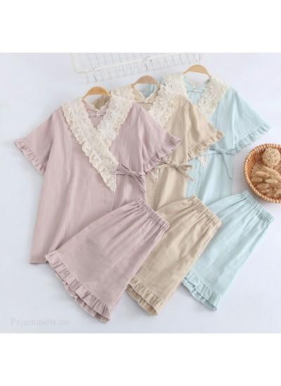 Cotton Kimono Pure Color Double Layer Gauze Short-sleeved Shorts Ladies Pajamas Set For Summer