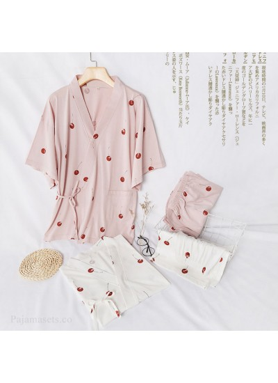 New Kimono Short-sleeved Shorts Pure Cotton Sweat Steaming Suit Ladies Pajamas For Summer